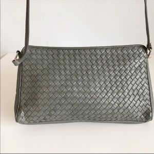 Vintage Ganson Woven Leather Crossbody | Gray